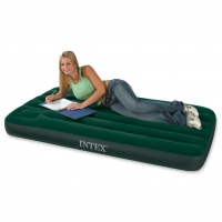 Надувной матрас Intex Downy Bed (Twin) с насосом 99х191x22 см