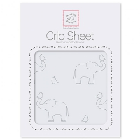 Простынка на резинке SwaddleDesigns Fitted Crib Sheet SD Elephants Sunwashed Blue