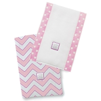 Полотенчики SwaddleDesign Baby Burpie Set Pink/VB Trim Chevron